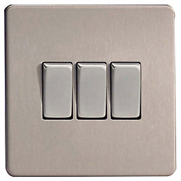 Varilight 10A 2-Way Triple Brushed Steel Light Switch