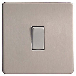 Varilight 10A 3-Way Brushed Steel Intermediate Switch