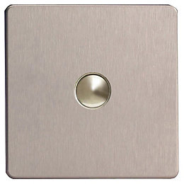 Varilight 6A 2-Way Silver Brushed Steel Single Push