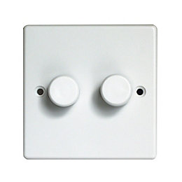 Varilight V-Plus 2-Way Double White Double Dimmer Switch