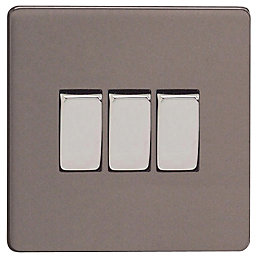 Varilight 10A 2-Way Slate Grey Triple Switch