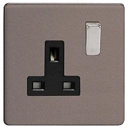 Varilight 13A Double Pole Slate Grey Switched Socket