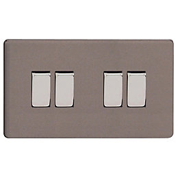 Varilight 10A 2-Way Slate Grey Quadruple Switch