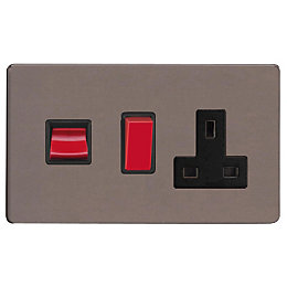 Varilight 13A Double Pole Slate Grey Cooker Switch