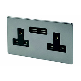 Varilight 13A Slate Grey Unswitched Socket & 2