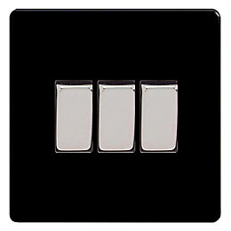Varilight 10A 2-Way Jet Black Triple Light Switch
