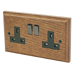 Varilight 13A Solid Oak Switched Double Socket