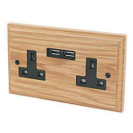 Varilight 13A Solid Oak Unswitched Double Socket &