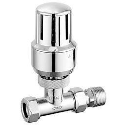 Pegler Yorkshire Chrome Effect Straight Thermostatic Radiator
