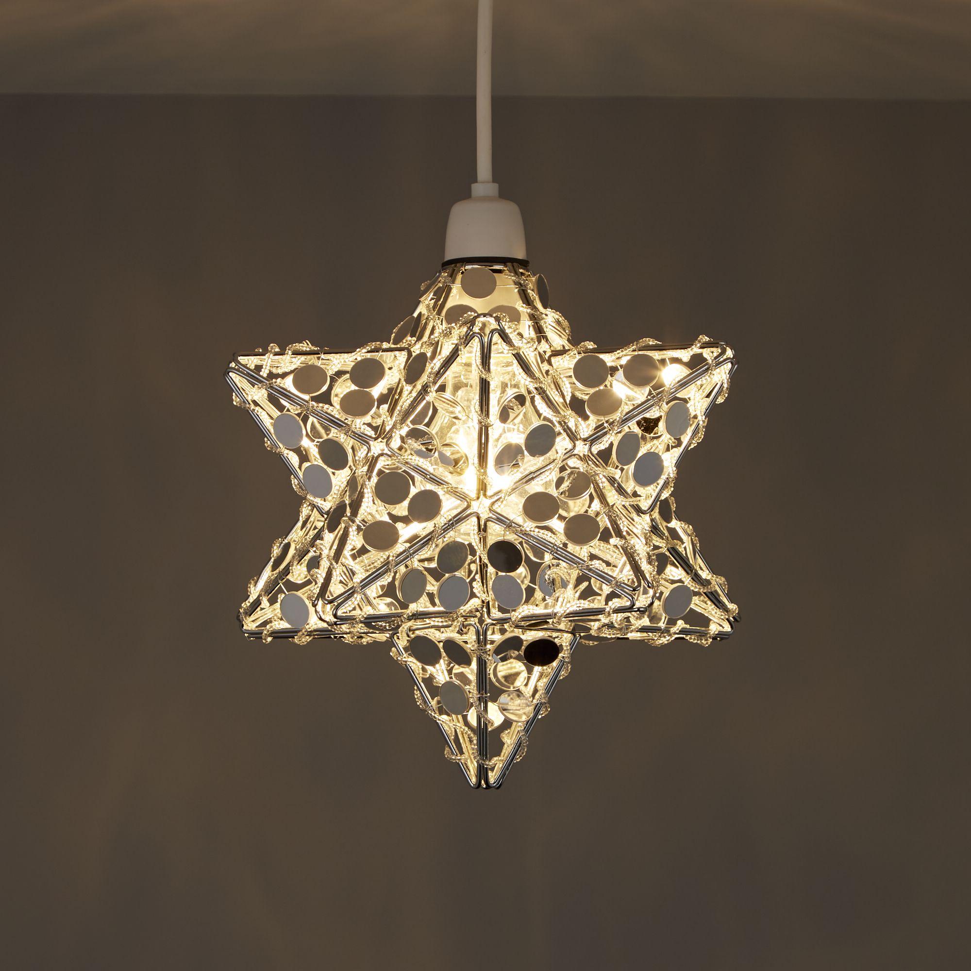 Chrome Effect Mirrored Star Ceiling Light
