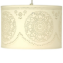 Ivory Doily Cylinder Pendant Light Shade (D)30cm