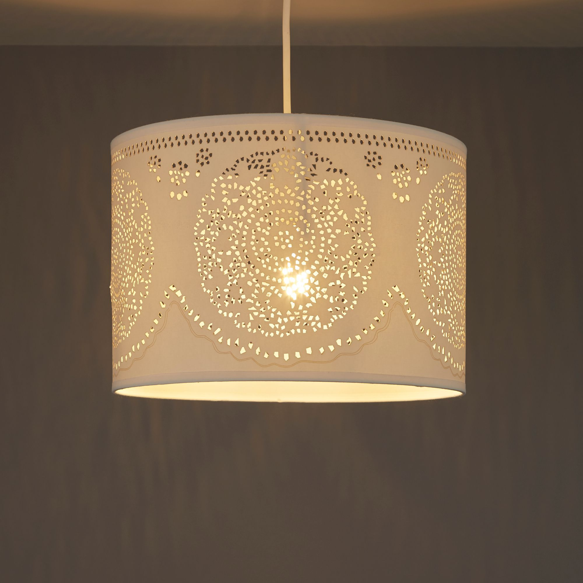 Diy at bq ivory doily cylinder pendant light shade d300mm arubaitofo Images
