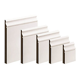 MDF Mouldings Primed Skirting (T)18mm (W)169mm (L)3600mm, Pack