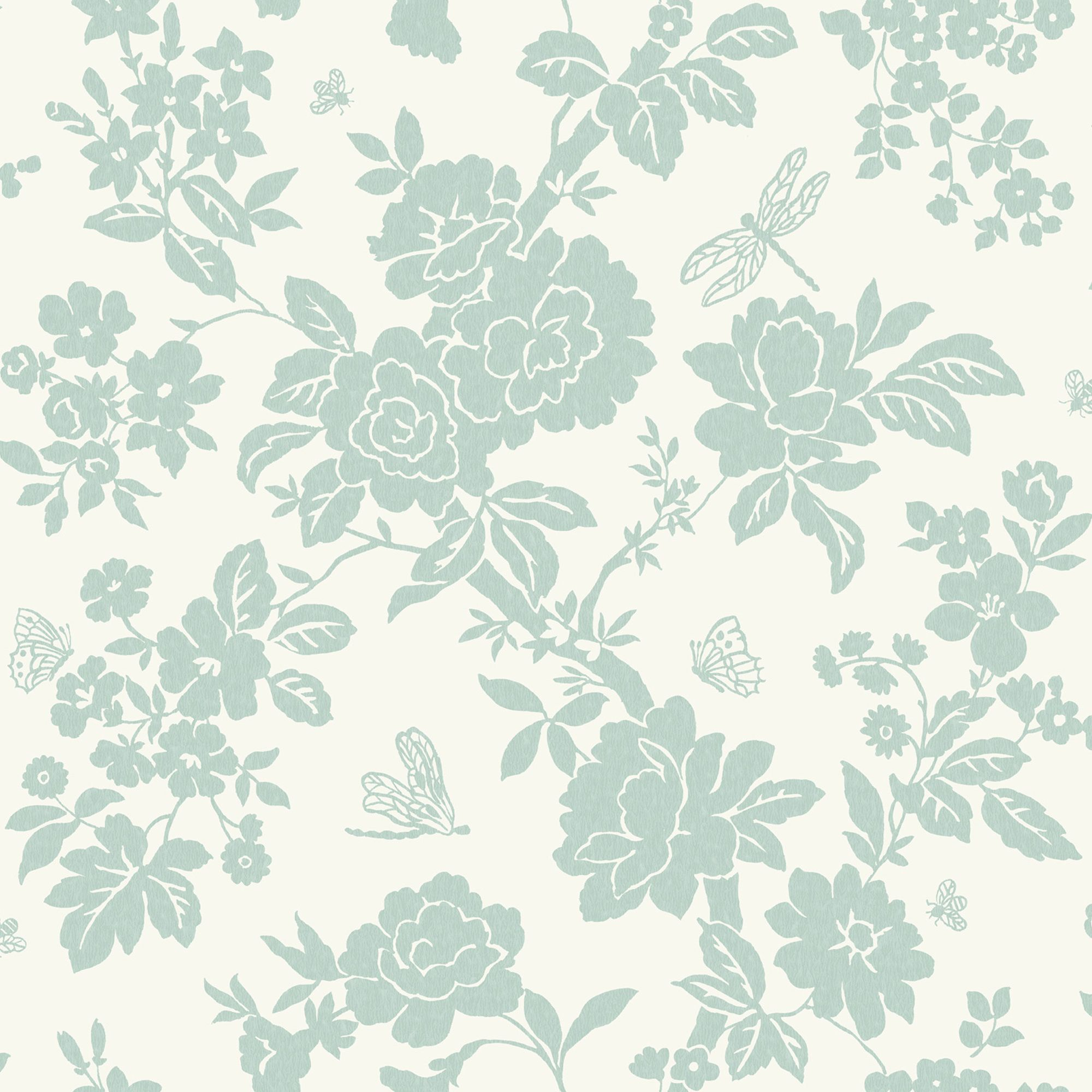 Nina Duck Egg Floral Wallpaper
