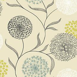 K2 Starburst Blue & Cream Floral Wallpaper