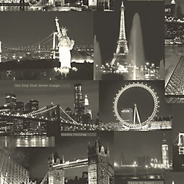 Black & White Night City Wallpaper