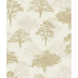 K2-Glitter Glitter Forest Gold Trees Glitter Wallpaper