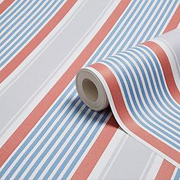 K2 Nautical Blue & Red Stripe Wallpaper