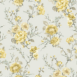K2 Lucy Duck Egg & Yellow Floral Wallpaper