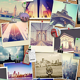 Photographic Pinboard Wallpaper