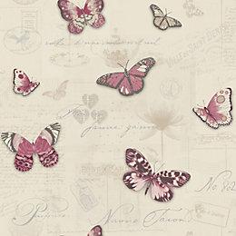 Beige Vintage Butterflies Glitter Highlight Wallpaper