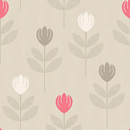 Retro Cream Floral Wallpaper
