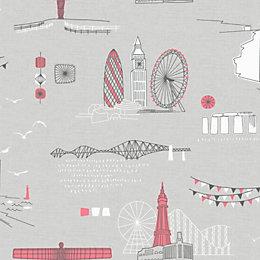 Retro Grey City Scene Wallpaper