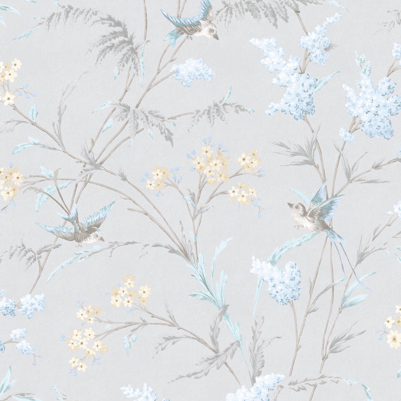 Hailey Grey Amp Blue Floral Birds Glitter Highlight