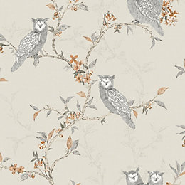 Sleepy Owls Cream Floral Birds Glitter Effect Wallpaper