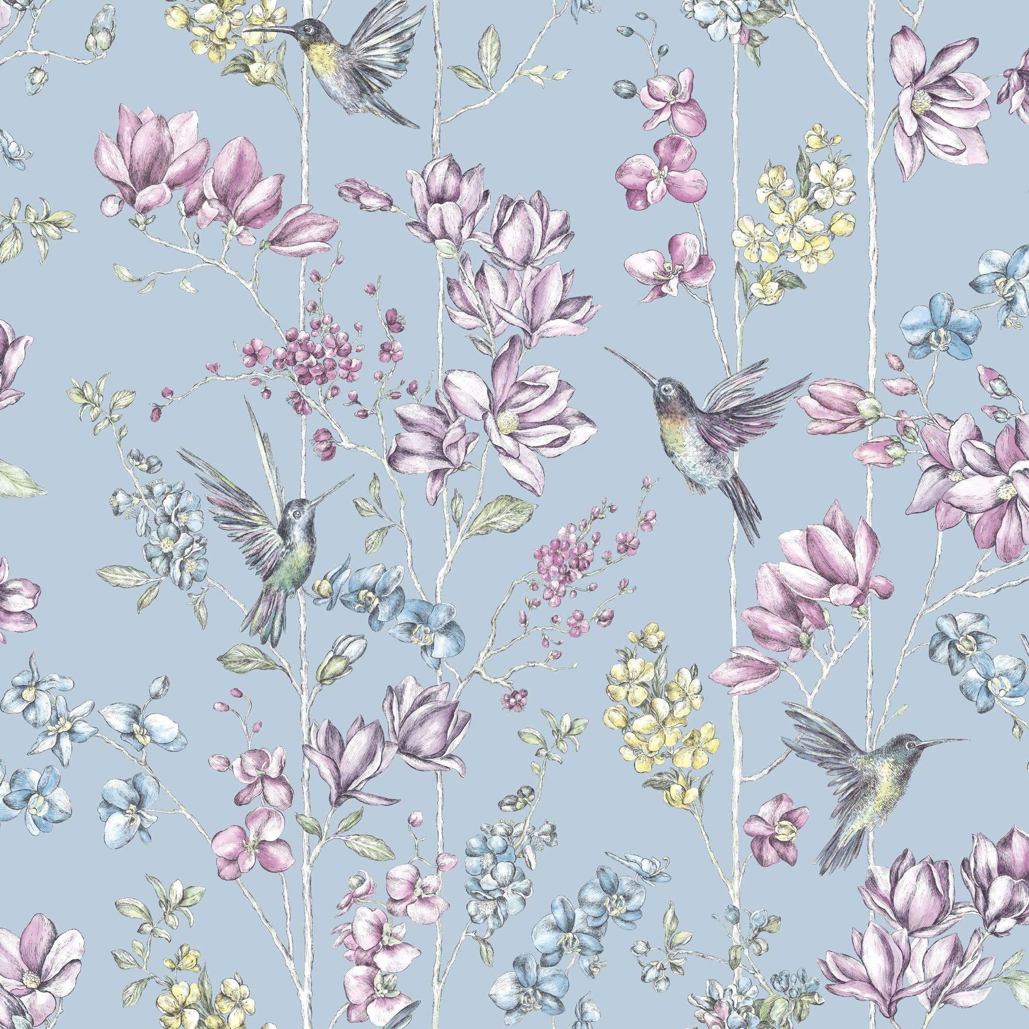 K2 Blue Floral Amp Hummingbird Glitter Effect Wallpaper
