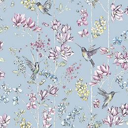 K2 Blue Floral & Hummingbird Glitter Effect Wallpaper
