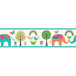 Paste The Wall Elephant & Trees Multicolour Border