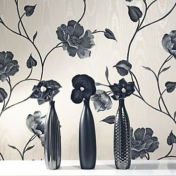 Opus Bella black and cream floral wallpaper