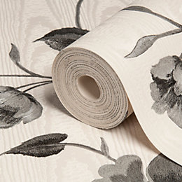 Opus Bella Trail Black & Cream Floral Wallpaper