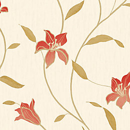 Opus Loretta Trail Red Floral Wallpaper