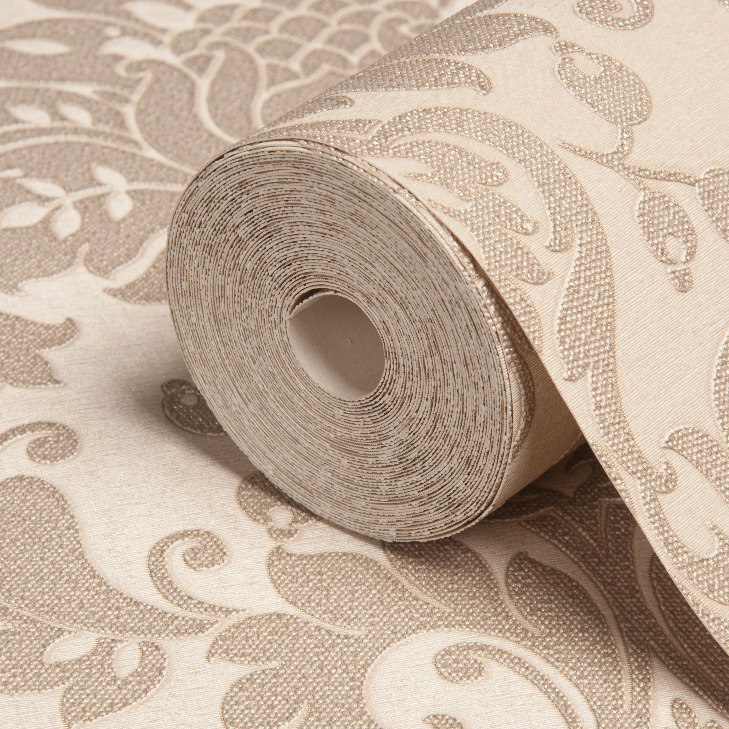 Opus clara sand damask wallpaper departments diy at b q B q bathroom design service