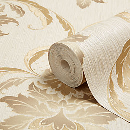Opus Loretta Beige Gold Damask Wallpaper