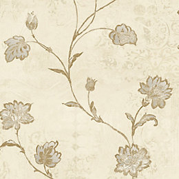 Opus Roselea Soft Grey Floral Trail Wallpaper