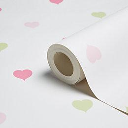 Holden Décor Green & Pink Hearts Wallpaper