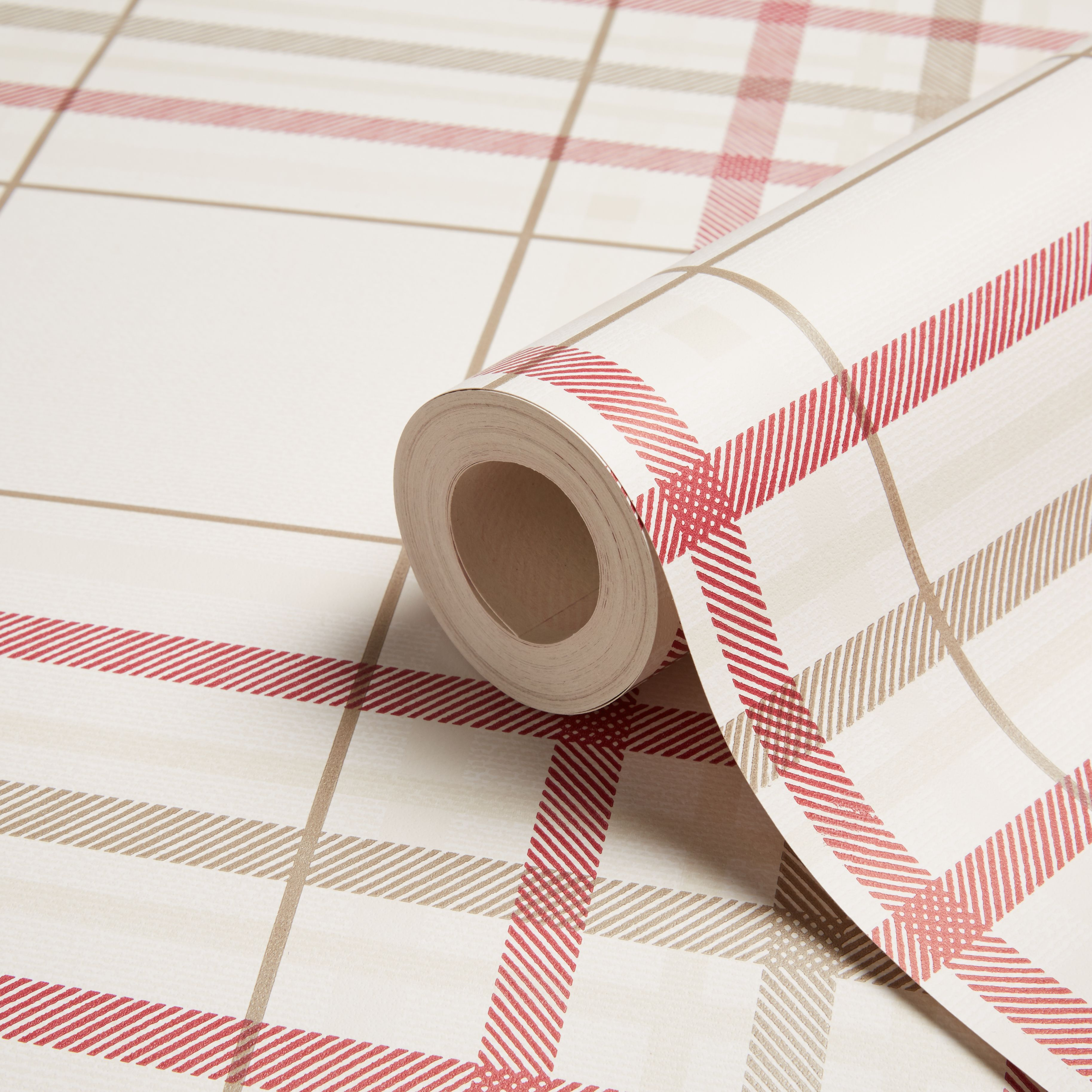 K2 cream red plaid wallpaper departments diy at b q - Red brown and cream wallpaper ...