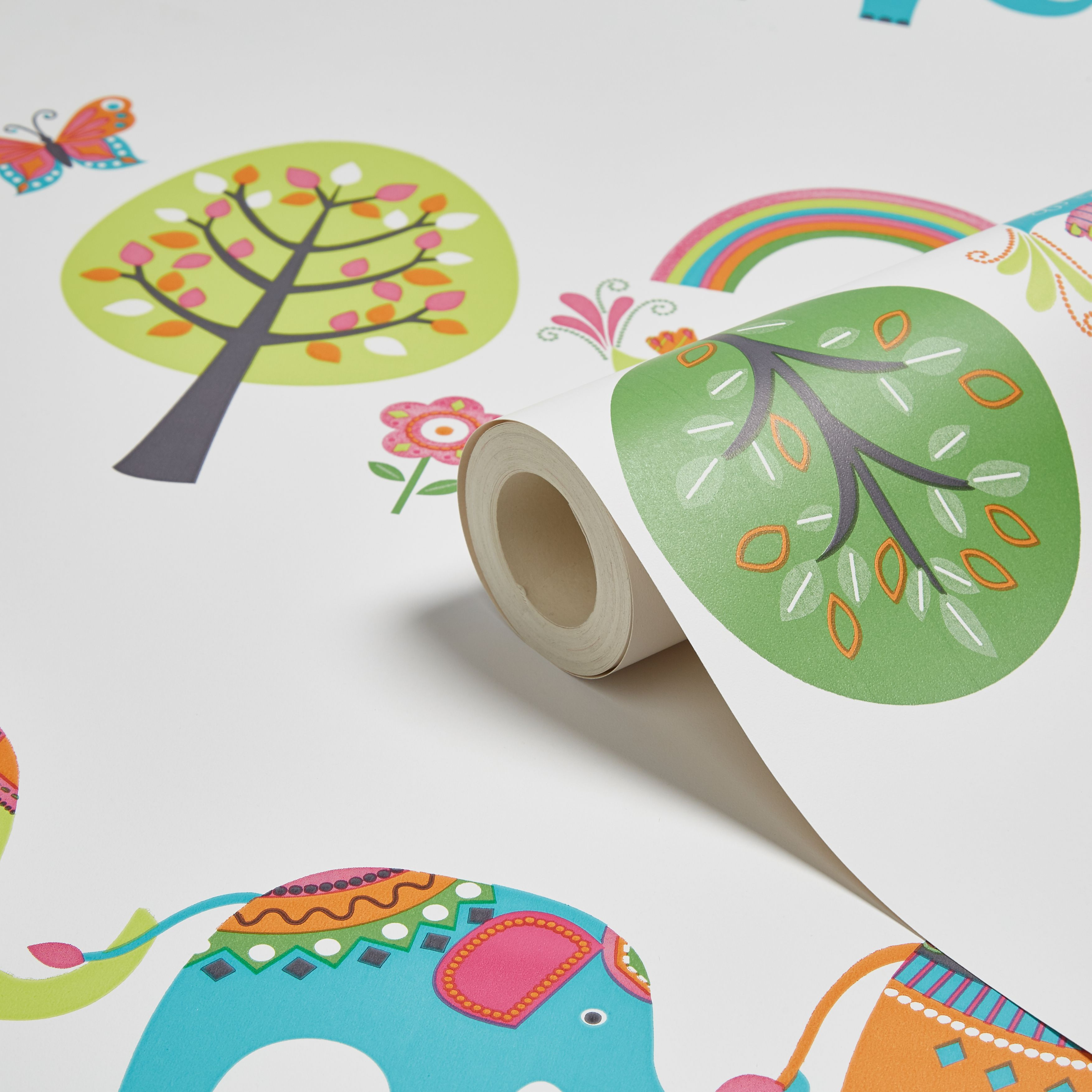Cream, Green & Orange Elephants & Trees Children's Wallpaper