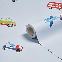 Blue, Green & Red Traffic Children's Wallpaper