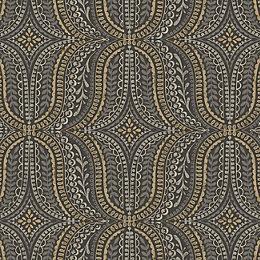 Statement Farah Black & Gold Effect Geometric Wallpaper