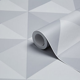 K2 Valiant Grey Geometric Wallpaper