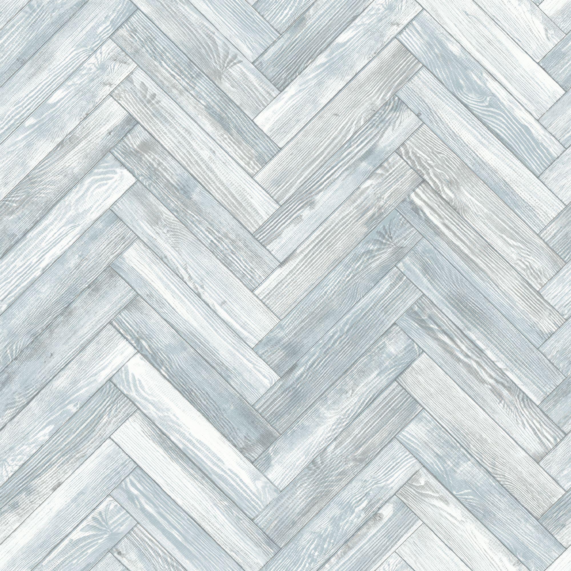 Statement Blue Chevron Wood Wallpaper