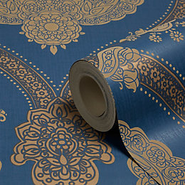 Holden Décor Moselle Blue Damask Wallpaper