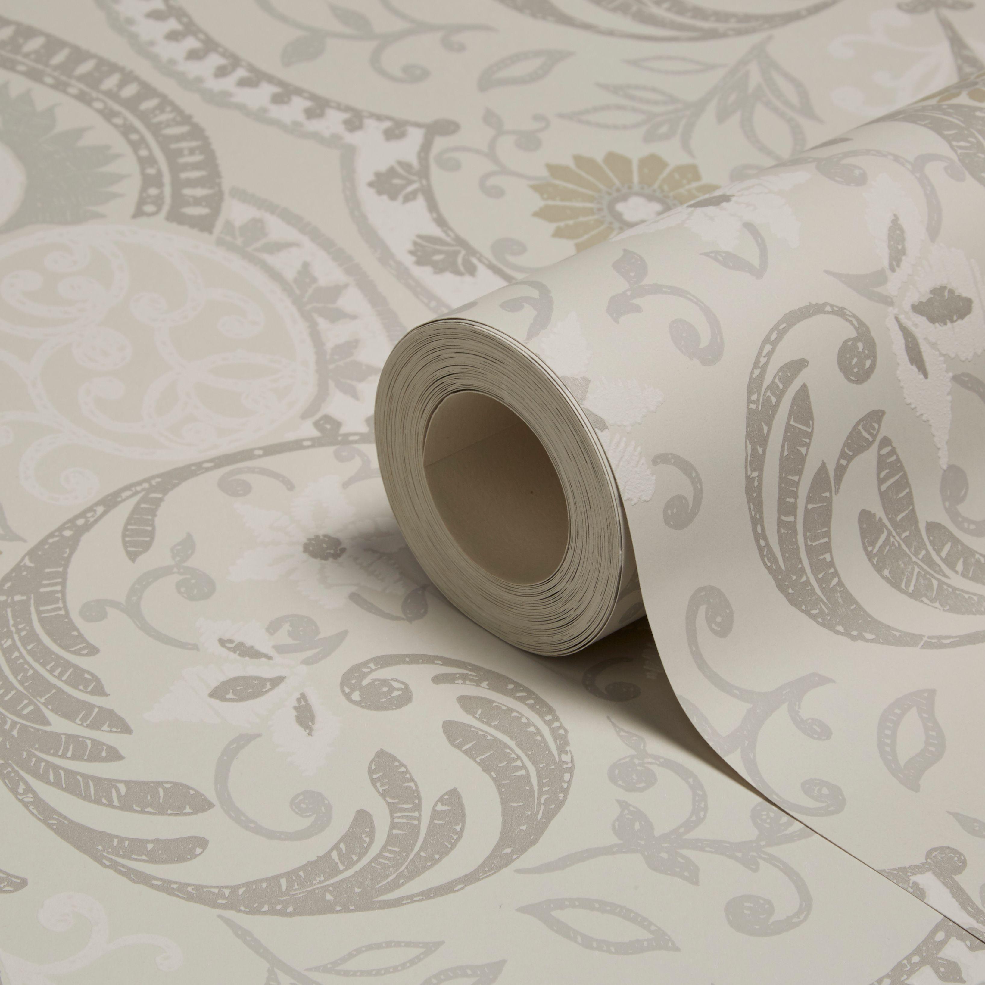 holden d cor portobello grey floral damask wallpaper. Black Bedroom Furniture Sets. Home Design Ideas