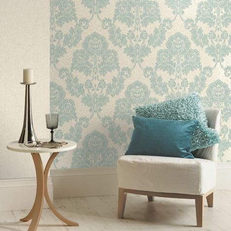 K2 Duck Egg Amp Cream Ashlei Mica Effect Wallpaper