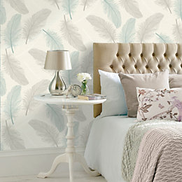 K2 Teal & Cream Maisey Wallpaper