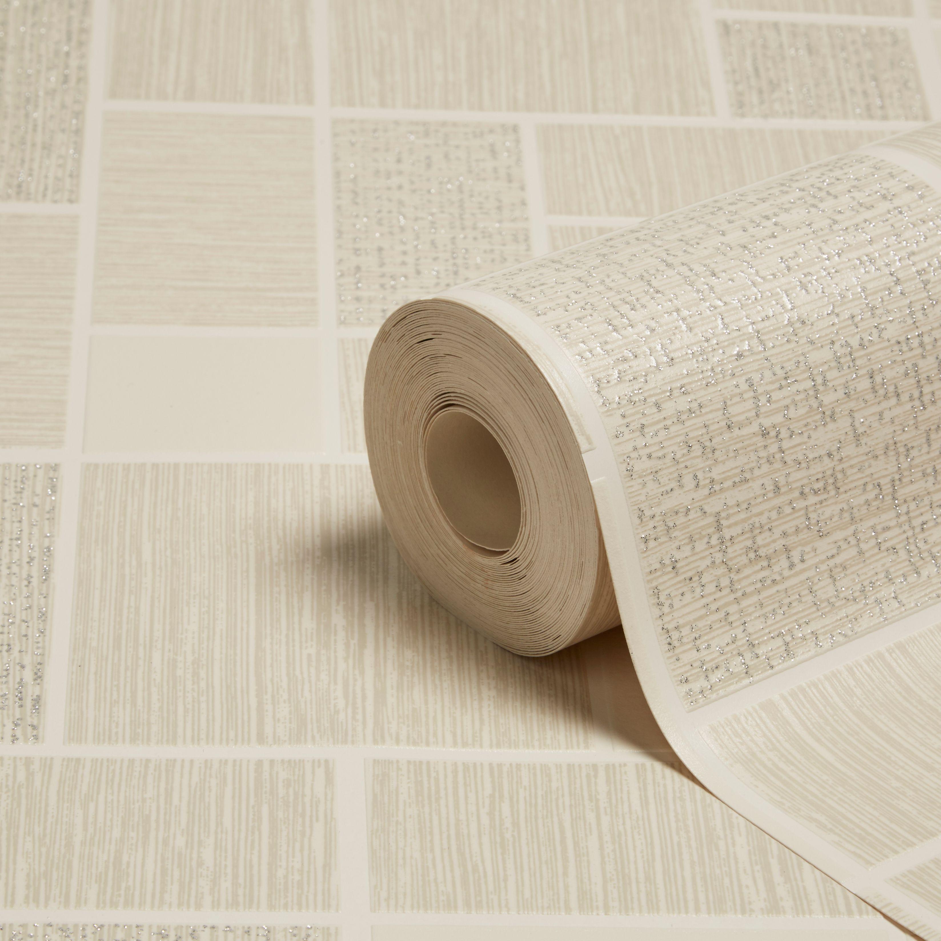 Holden Décor Tiling On A Roll Natural Glitter Tile Wallpaper